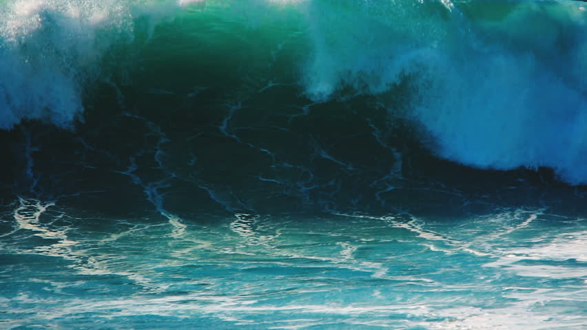 Big blue rough ocean surfing waves slowly splash, crash, break. Rolling tropical Hawaii beach. Slow motion close up video nature landscape background. Blue, turquoise sea water surface moving power.
