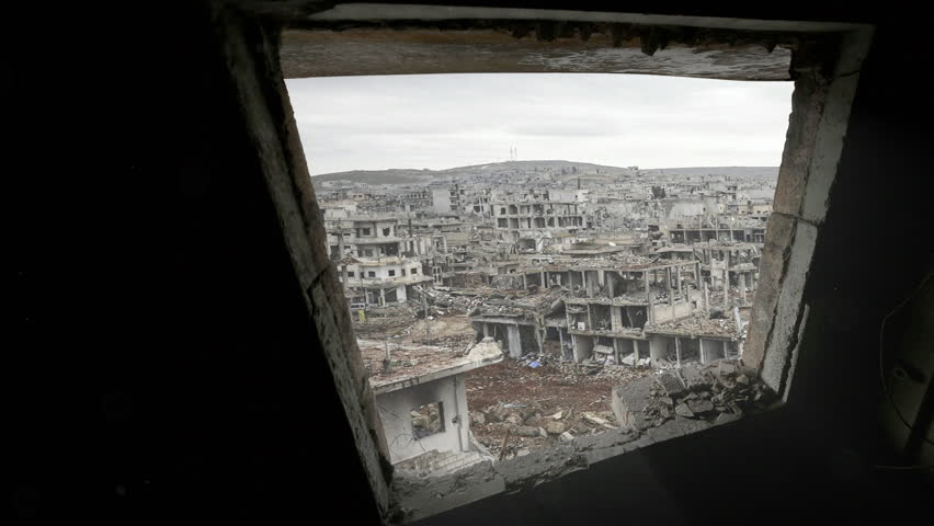 Syria war destruction from a window