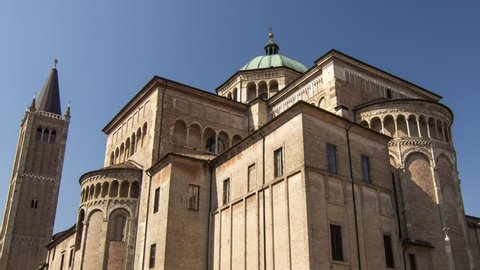 4K Hyperlapse in the centre of Parma, Cathedral of Parma, Italy