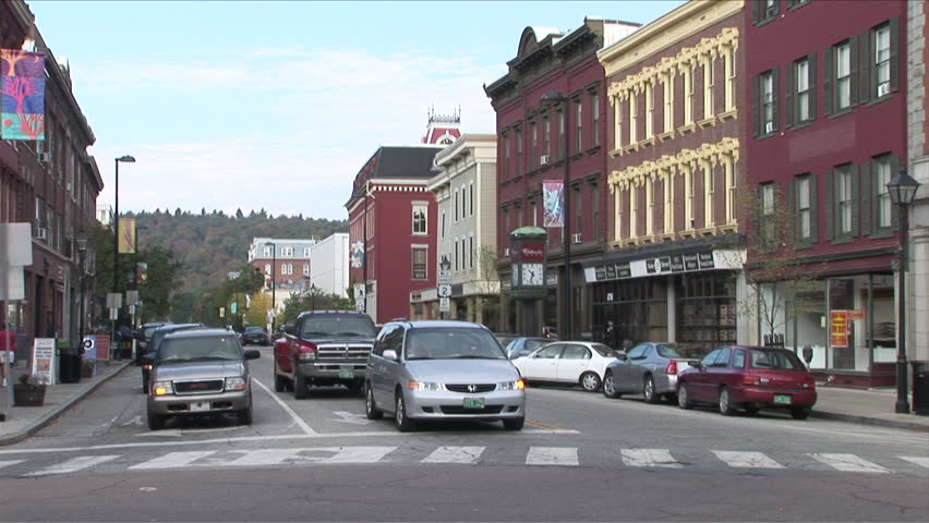 Vermont - CIRCA September, 2007: View of a quiet street in a small New England town with a few cars seen during the day