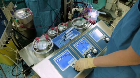 Perfusionist control heart lung machine in operating room