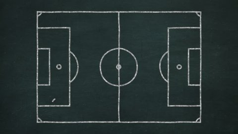 blackboard with soccer strategies simulation for the attack