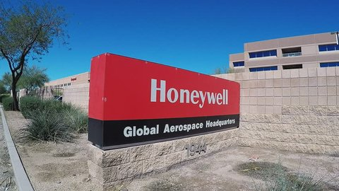 Phoenix az/usa: march 14, 2017-close up shot of the honeywell global  aerospace headquarters sign in phoenix arizona  a display outside the wall  indicates location of technology company