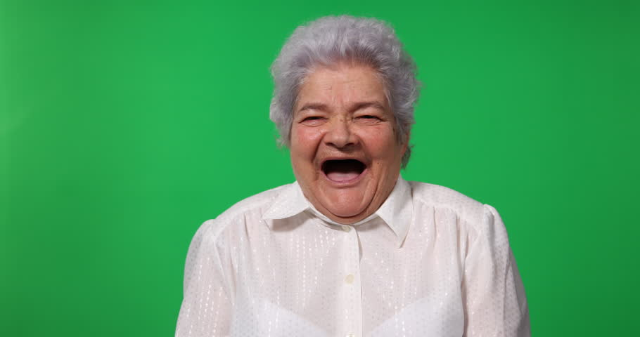 Happy Elderly Woman Look Camera Cheerful Start Laughing Green Screen Background