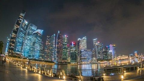 Singapore city skyline night motion timelapse (Hyperlapse), Marina Bay, Singapore, 4K Time lapse