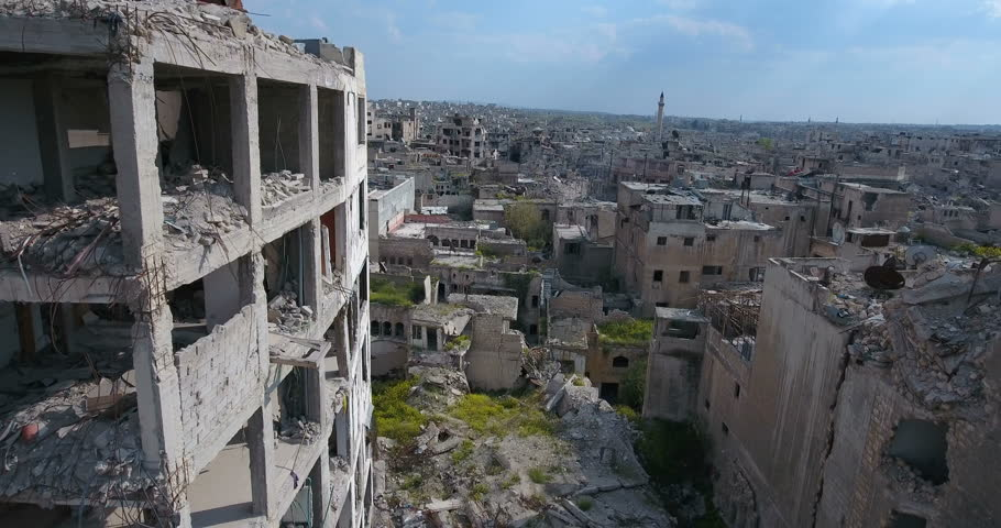 A drone filmed over the city of Aleppo in Syria | Shutterstock HD Video #25730807