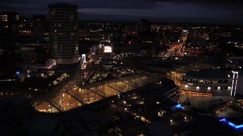 Aerial Birmingham, UK at night