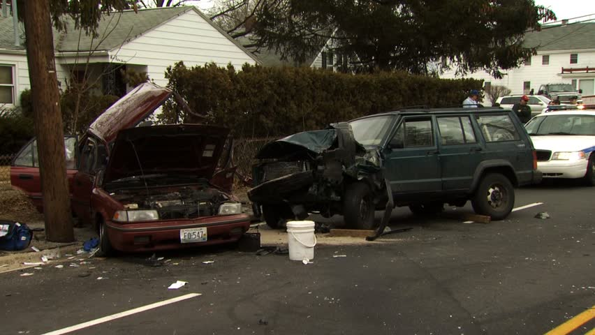 WARWICK, RHODE ISLAND - AUGUST 3, 2010: Two car accident in street