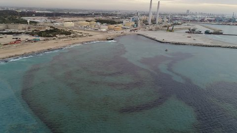 Ashdod - 04 May 2016: Pollution in the water of Ashdod, drone footage