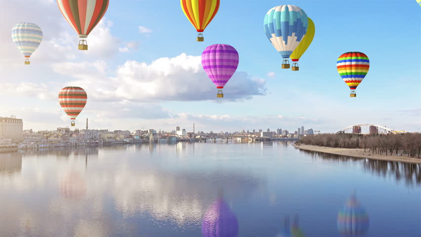 4K Group of Colorful Hot Air Balloons Fly over the City