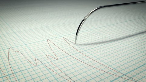 A polygraph lie detector machine drawing red lines on graph paper