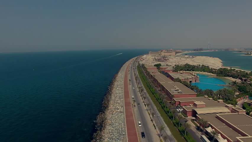 On the perimeter of palm Jumeriah Dubai aerial reveal   Shutterstock HD Video #25799792