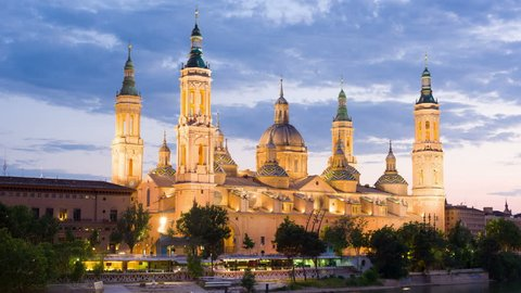 Timelapse of Zaragoza in a summer sunset