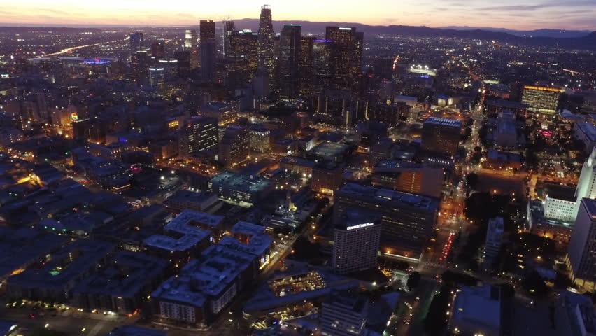 LOS ANGELES, CALIFORNIA - Circa 2016: Dawn view of downtown Los Angeles. Famous downtown skyscrapers. Shot from helicopter. | Shutterstock HD Video #25828922
