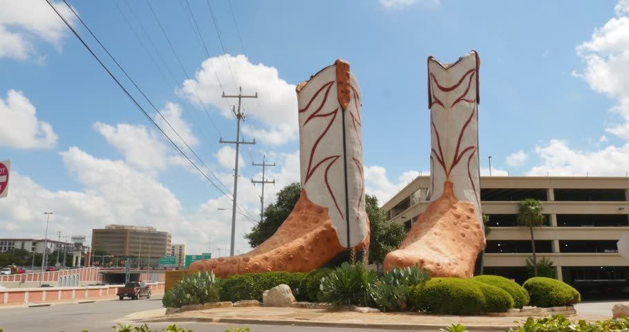 SAN ANTONIO, TX - Circa September, 2016 - A realtime view of the World's Largest Cowboy Boots at North Star Mall in San Antonio, Texas.