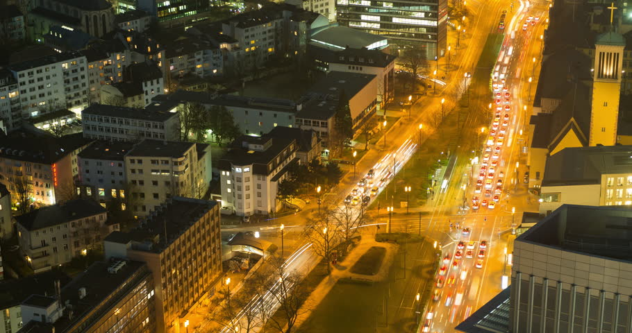 Downtown Frankfurt, Germany. Rush hour traffic time lapse at night.  | Shutterstock HD Video #25855772