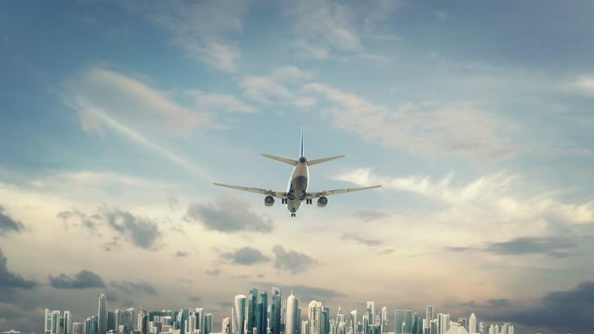 Airplane Landing Doha Qatar