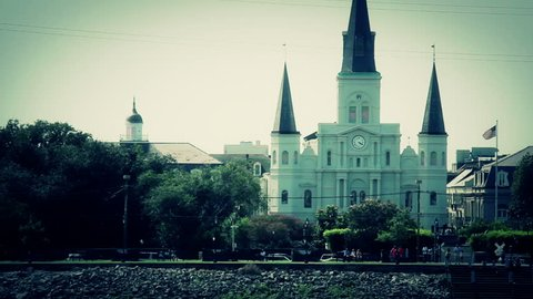 Sailing past Jackson Square on the Mississippi River in downtown New Orleans.