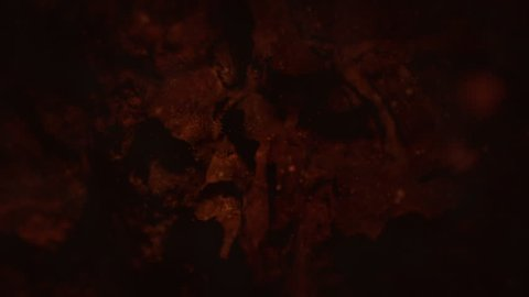 Dark Dim Lava Vacuole Cave Filled With Water and Particles