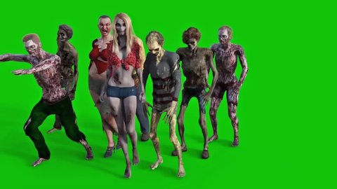 Zombies Walking Green Screen 3D Rendering Animation