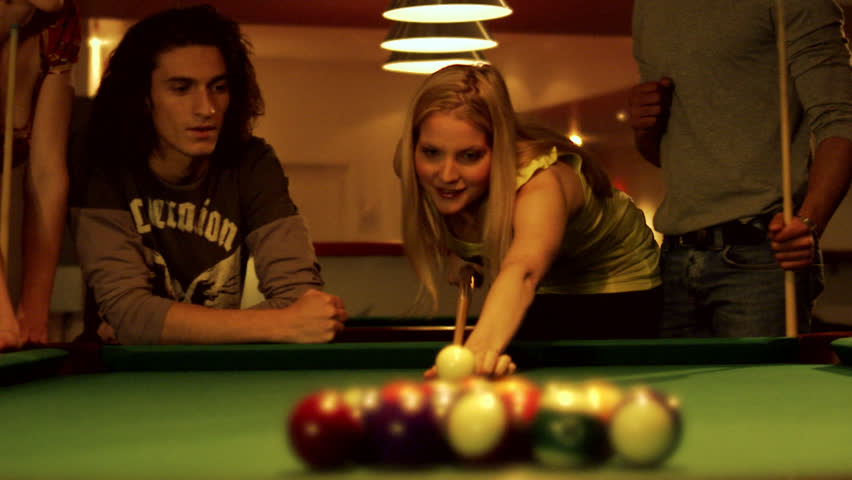 three ladies are playing billiards and having unforgettable threesome  23973