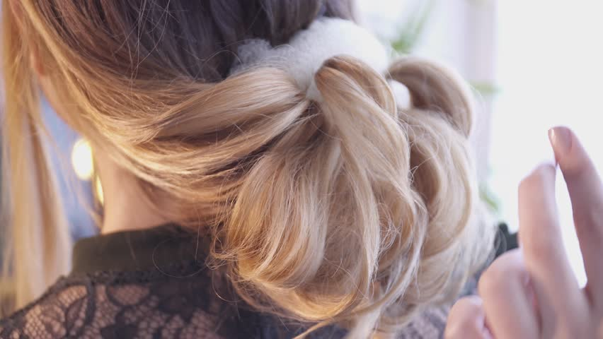 Hair Stylist Creating A Hairstyle For Young Woman In Salon Stock - Video girl hairstyle