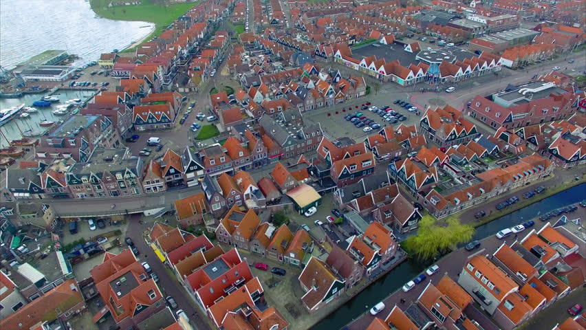 Volendam town in North Holland Overhead View Of Homes Going Toward Water