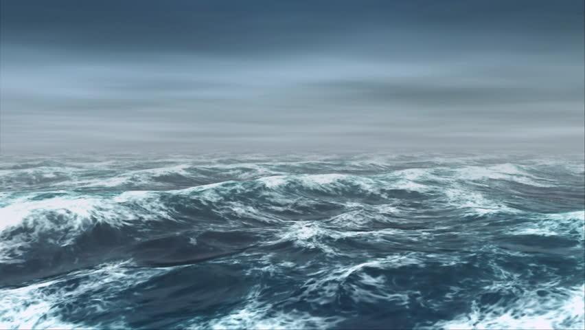 Oceanic 0106: Ocean waves roll in the mist (Loop). #25997402