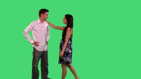 couple playing over green screen