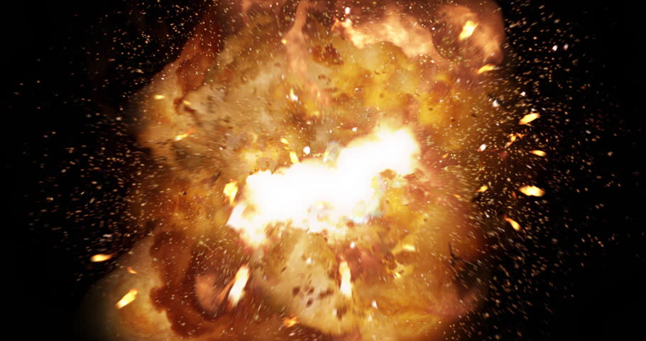 Realistic fireball explosion and blasts with luma channel. 4K VFX element.