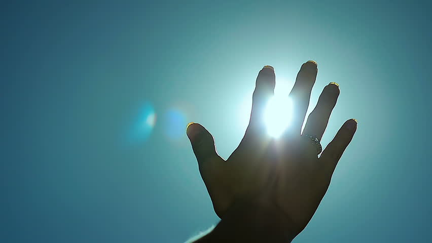 Abstract Sun Rays Through Female Fingers Palm in Slow Motion  | Shutterstock HD Video #26047172