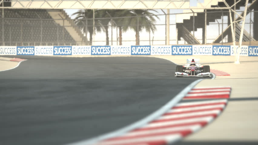 Formula One race car on desert circuit - high quality 3d animation - visit our portfolio for more