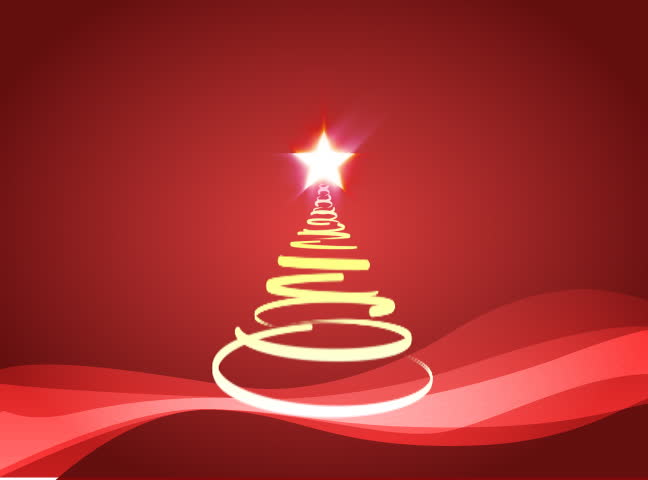 Christmas tree with falling snow loop animation, red colors