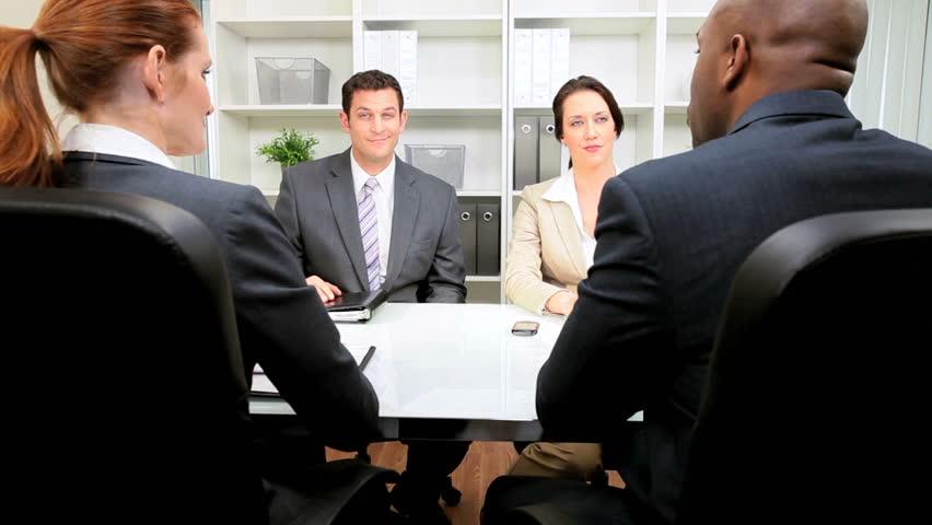 Business people meeting legal team