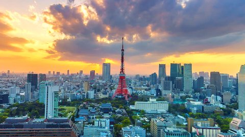 4K,Time lapse view sunset at Tokyo city with Tokyo Tower in japan asia Is a famous place
