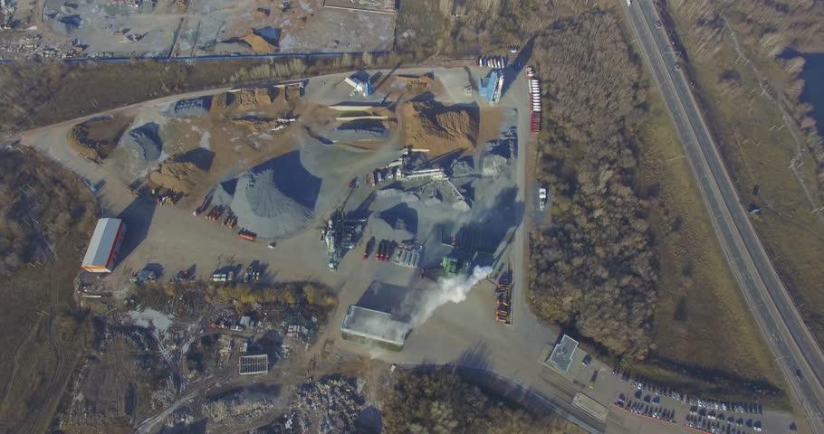 Concrete plant near a big road. Aerial.   Shutterstock HD Video #26108852