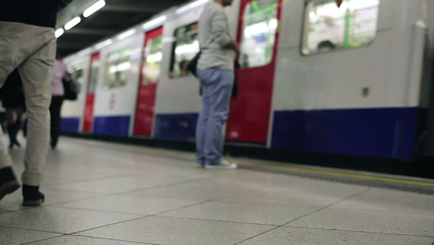 Subway train arrives at London metro station