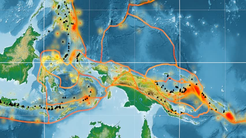 Molucca Sea tectonic plate featured & animated against the global physical map in the Kavrayskiy VII projection. Tectonic plates borders (Peter Bird's division), earthquakes, volcanoes