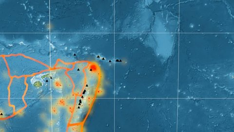 Balmoral Reef tectonic plate featured & animated against the global relief map in the Mollweide projection. Tectonic plates borders (Peter Bird's division), earthquakes, volcanoes