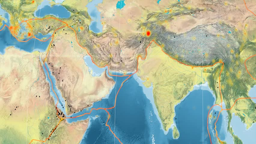 Arabia Tectonic Plate Featured Animated Against The Global - Global topographic map