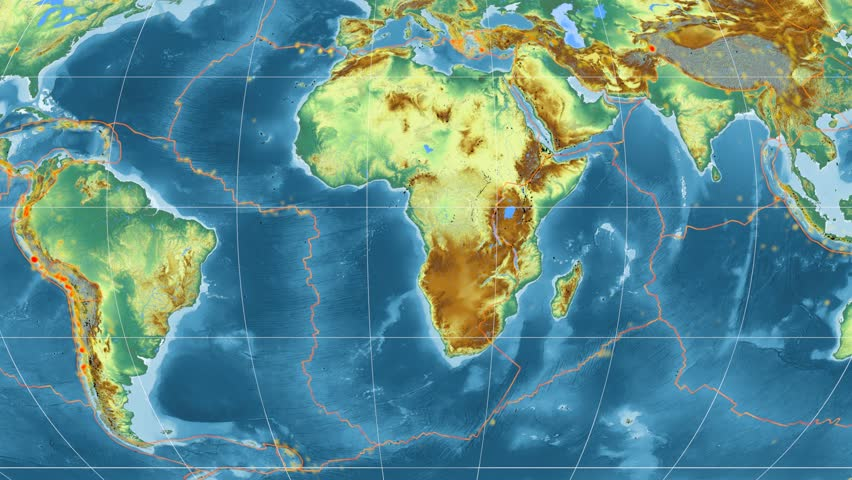 Africa tectonic plate featured & animated against the global relief map in the Mollweide projection. Tectonic plates borders (Peter Bird's division), earthquakes, volcanoes | Shutterstock HD Video #26134982