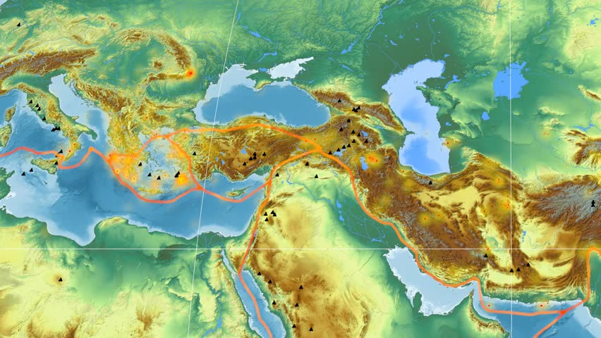 Aegean Sea tectonic plate featured & animated against the global relief map in the Mollweide projection. Tectonic plates borders (Peter Bird's division), earthquakes, volcanoes | Shutterstock HD Video #26135024