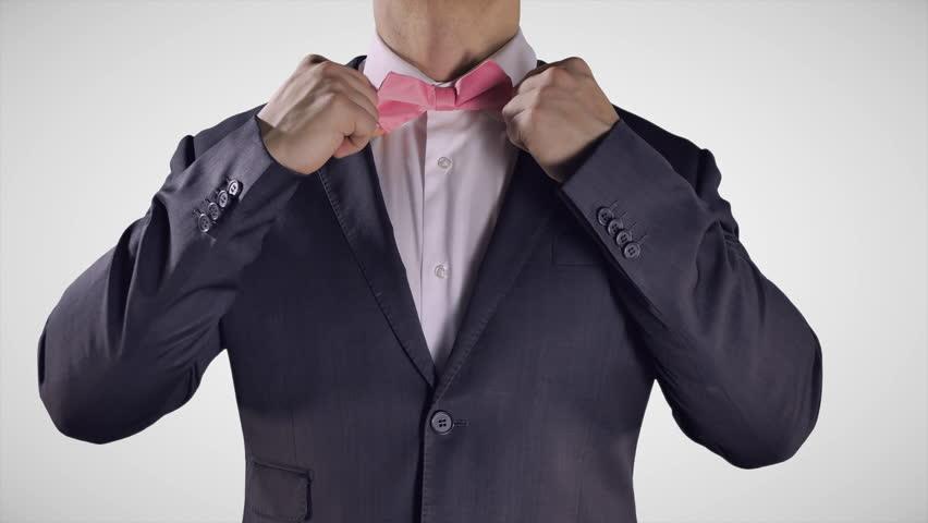4K Man Fixing Bow Tie, Hands On Black Bow Tie, Elegant Black ...