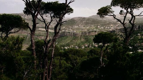 Aerial View, Aerial camera shot, Aerial Drone view of Lebanese mountain Jezzine . Flying through the trees to reveal Mountain