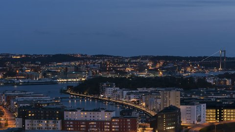 Timelapse panorama view of Gothenburg, Sweden at dusk. 4K. 30p