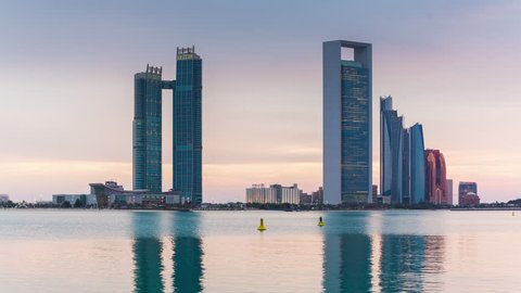 sunset abu dhabi famous cityscape bay panorama 4k time lapse uae