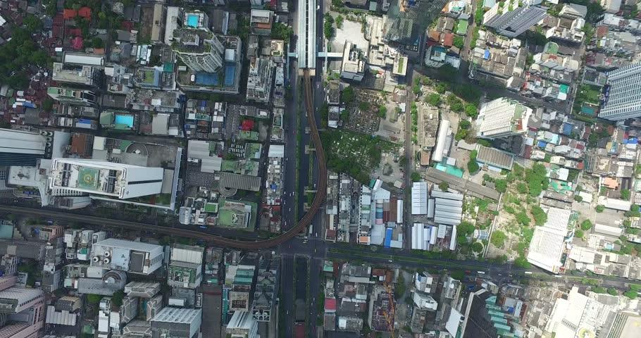 Chong nonsi station Aerial view Sathon road of Bangkok, Thailand by drone