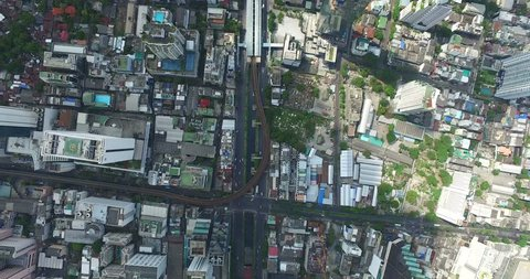 Chong nonsi station Aerial view Sathon road of Bangkok, Thailand by drone