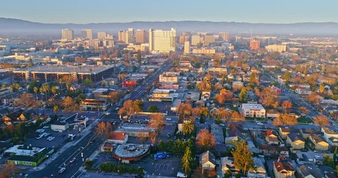 Aerial View Of San Jose City at sunrise & sunset
