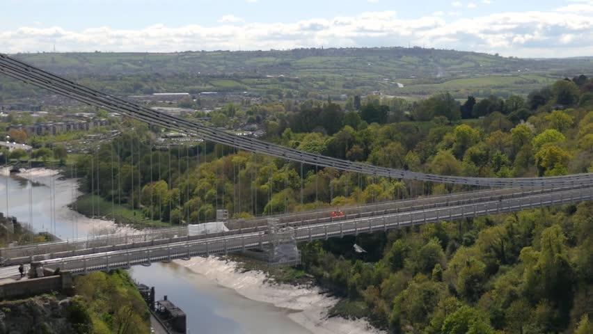 Cars driving across Clifton Suspension Bridge, Bristol